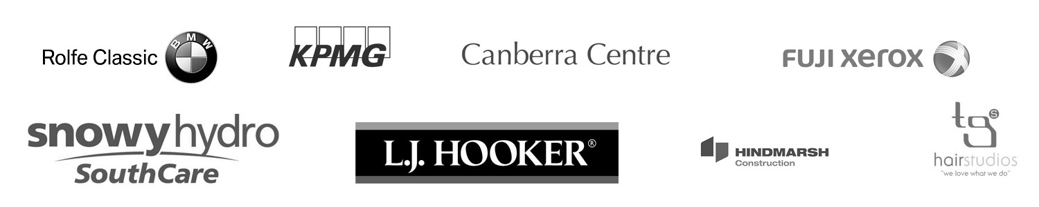 our clients: Canberra Center, LJ Hooker, Fuji, Snowy Hydro, TG Hair Studio and more